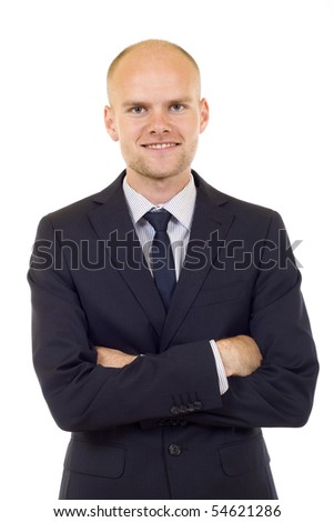 Assertiveness cheerful young businessman . Isolated on a white background - stock photo