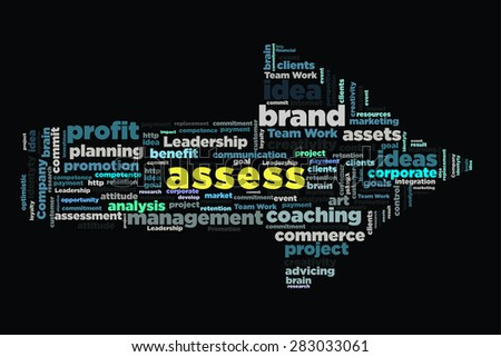 assess word on cloud concept with arrow shape - stock photo
