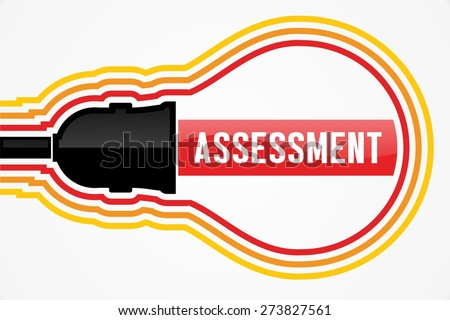 ASSESSMENT word in lightbulb concept - stock photo