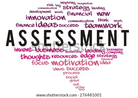assessment word on speech bubble colorful concept - stock photo