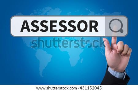 ASSESSOR man pushing (touching) virtual web browser address bar or search bar - stock photo