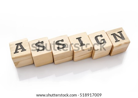 ASSIGN word made with building blocks isolated on white
