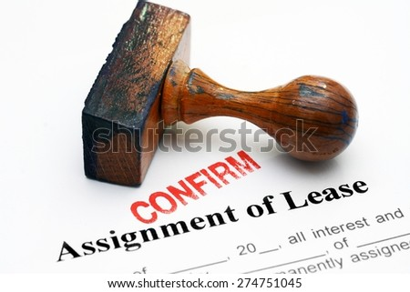 Assignment of lease - confirm - stock photo