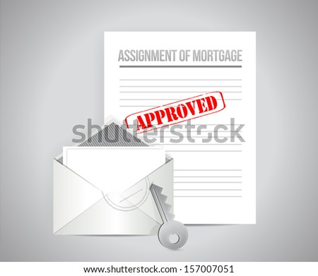 assignment of mortgage approved concept illustration design background - stock photo