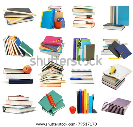 Assignment school books collage - stock photo