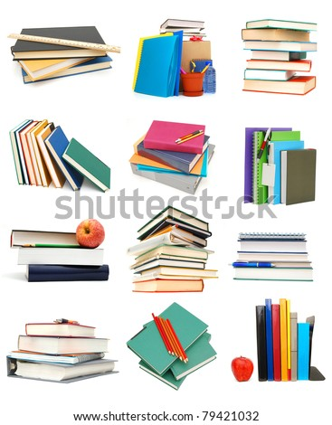 Assignments on stacking books - stock photo