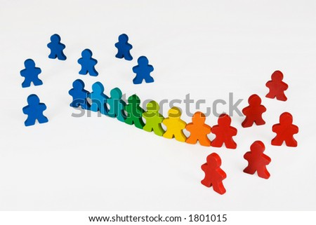 Assimilation or social change - Social and Business concepts illustrated with colorful wooden people.