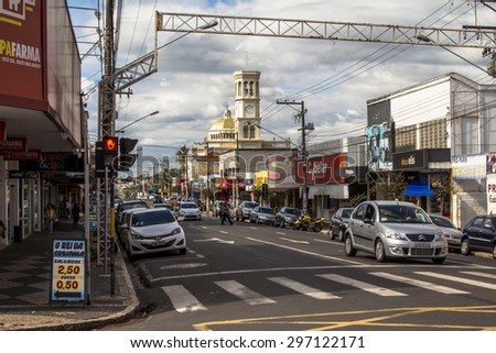 Assis, Sao Paulo, Brazil, June 12, 2015. Street in downtown Assis in Sao Paulo state.