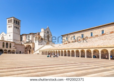 Assisi, Italy. Basilica of St. Francis (XIII century) and the portico in front of the Lower Church, XV century