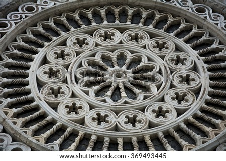 Assisi (Italy) Church/Basilica of St Francis (San Francesco): particular of front - stock photo