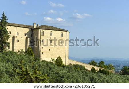 ASSISI, ITALY-JULY 03, 2014: medieval building on the hill, in Assisi.