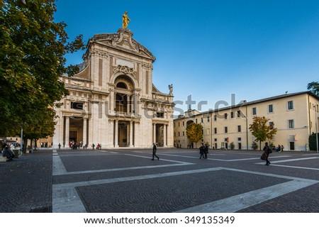 ASSISI, ITALY - NOVEMBER 2015: Saint Mary of the Angels(Basilica of Santa Maria degli Angeli) is a church situated near Assisi, Italy. - stock photo