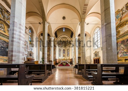 Assisi, Italy - October 2015 - Christian's Church interior in Assisi. Italy, 2015