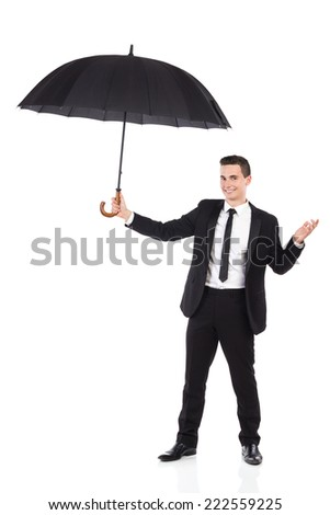 Assistance and Protection. Cheerful elegance man holding an open umbrella. Full length studio shot isolated on white. - stock photo