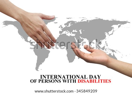 assistance and supporting hands of humanity symbolic for International Day of Persons with Disabilities concept:helping hand conception:strong together concept:love and kindness. - stock photo