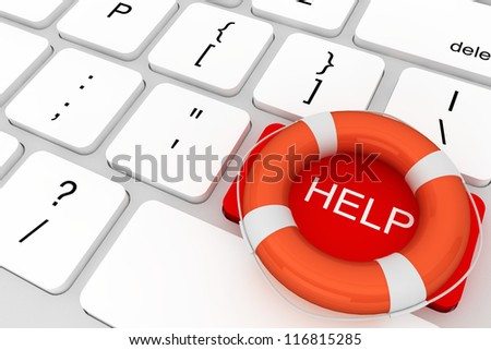Assistance concept. Computer Keyboard with red Help button and lifebuoy