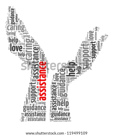 Assistance info-text graphic and arrangement concept on white background (word cloud) - stock photo