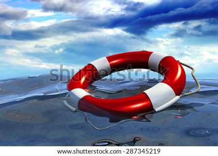 Assistance, insurance and help concept, lifebuoy ring floating in deep sea in storm weather on cloud background - stock photo