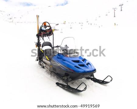 Assistance Snowmobile in Astun Ski resort, Spain - stock photo