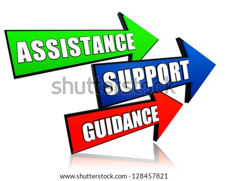 assistance, support, guidance - text in 3d arrows, business words concept