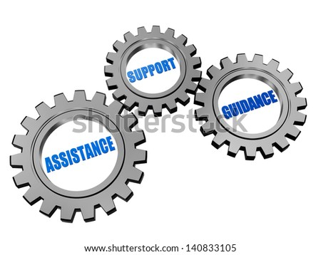 assistance, support, guidance - text in 3d silver grey gearwheels, business concept words