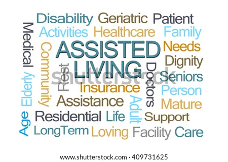 Assisted Living Word Cloud on White Background - stock photo