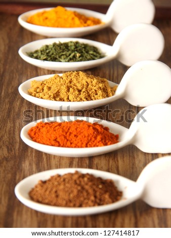 Assorment of indian spices arranged in a tray