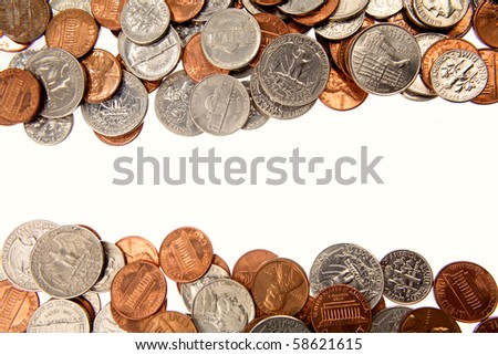 Assorted American coins - stock photo