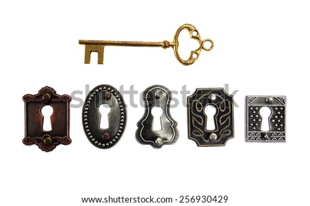 Assorted antique locks with gold key, isolated on white                                - stock photo