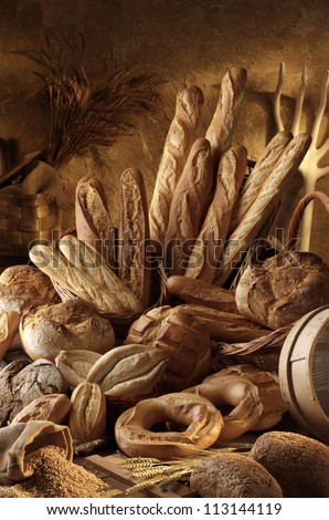 assorted artisan breads - stock photo