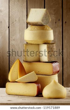 assorted artisan cheeses - stock photo