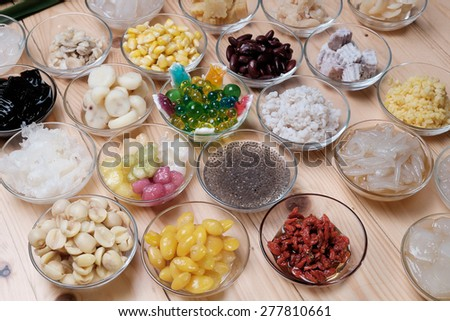 Assorted Beans In Longan Syrup,Traditional Chinese dessert.