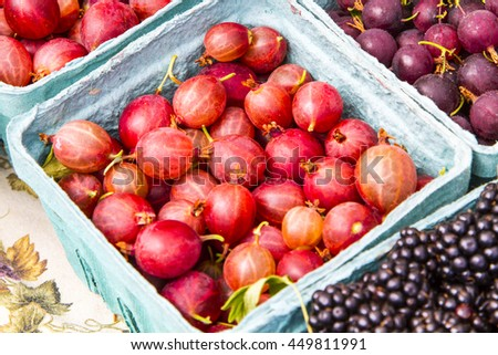 Assorted berries in blue boxes - stock photo