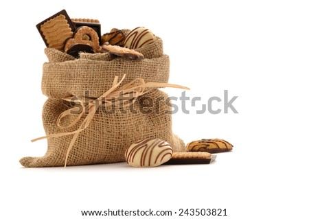 Assorted biscuits in a sack isolated on white background - stock photo