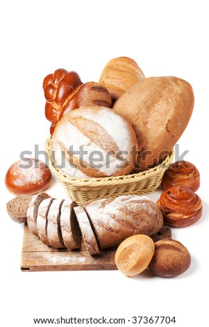Assorted bread on a white