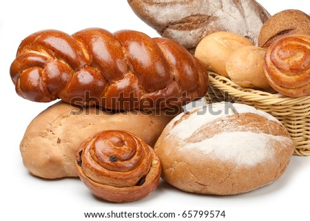Assorted bread on a white - stock photo