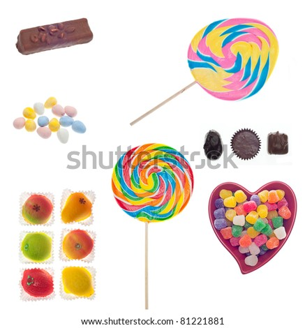 Assorted Candies and Sweets Isolated on White with a Clipping Path. - stock photo
