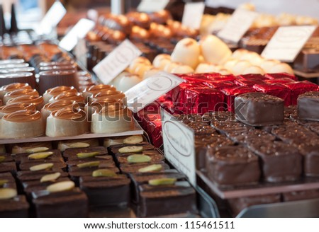Assorted candies in the candy store