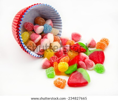 Assorted candy jelly beans in different flavors and colors