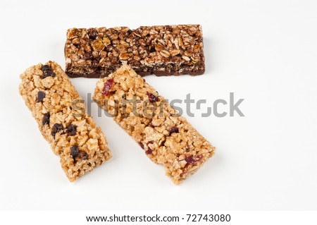 Assorted cereal bars isolated on white background