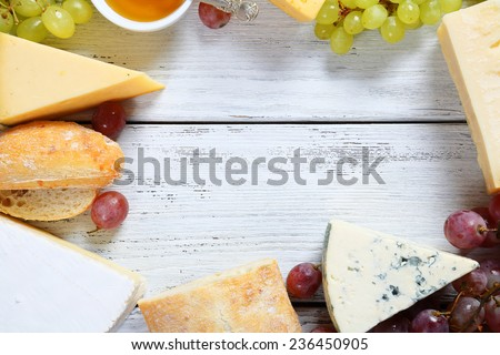 Assorted cheese on the boards, food - stock photo