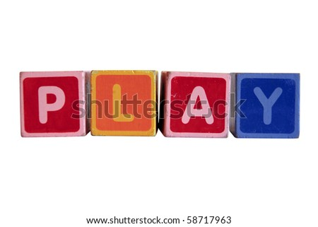 assorted childrens toy letter building blocks against a white background that spell play with clipping path - stock photo