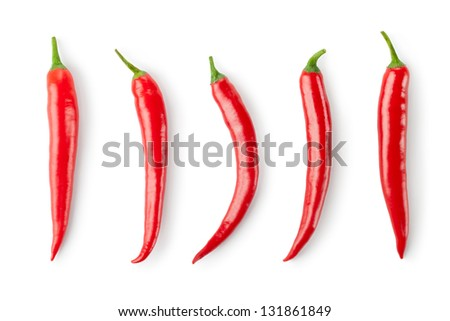 Assorted chili Peppers. Isolated on a white. - stock photo