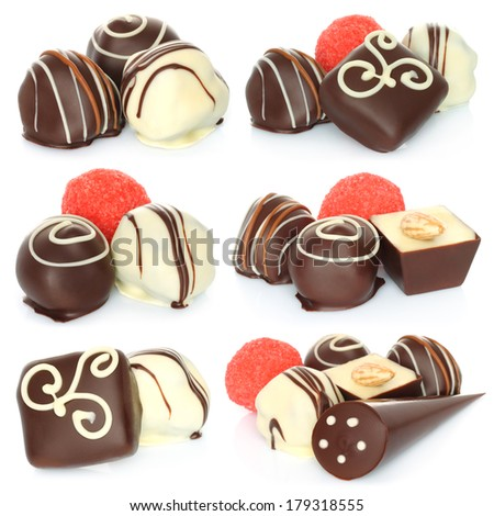 Assorted chocolate candies set on white background   - stock photo