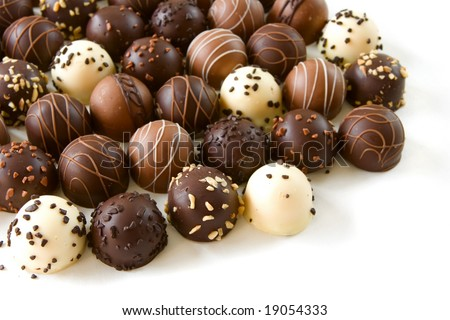 assorted chocolate truffle candies - stock photo