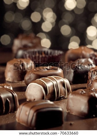 assorted chocolates. - stock photo