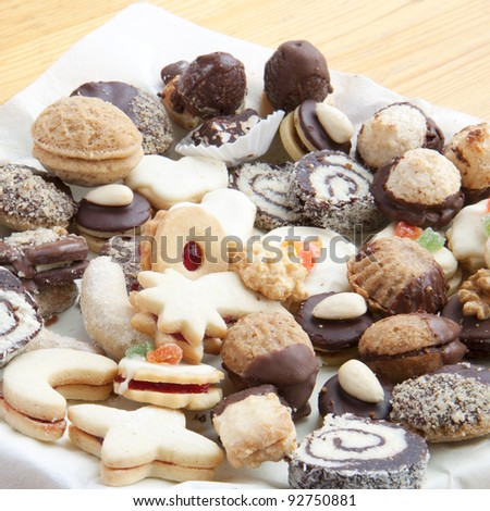 Assorted christmas cookies on the table - stock photo