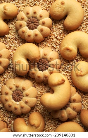 Assorted Christmas or Easter cookies with cocoa and nuts - stock photo