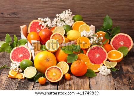 assorted citrus fruit - stock photo