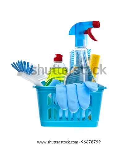 Assorted cleaning products on white background - stock photo